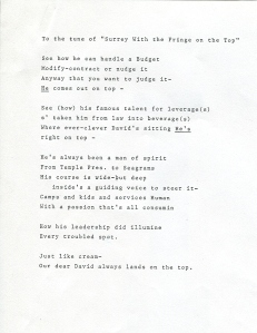 "Lyrics for an adaption of ""The Surrey with the Fringe on Top,"" 1987"